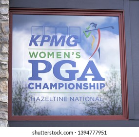 Chaska, Minnesota / USA - May 10 2019 : Women's PGA (Professional Golf Association) Clubhouse Window