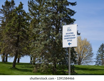 Chaska, Minnesota / USA - May 7 2019 : Women's PGA (Professional Golf Association) Office Directions Sign at Hazeltine Golf Course
