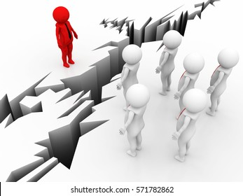 Chasm between human and crowd. 3d rendering