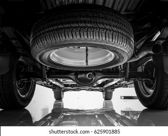 Chassis, Suspension car , Spare tire black and white tone