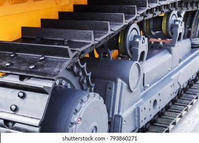 chassis of the tractor and bulldozer. different parts of Construction machinery