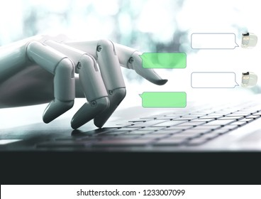 Chat bot concept hands robot talk live chat on empty space