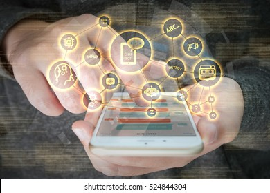 Chat bot and future marketing concept , chatbot connect icons with hand holding mobile phone and graphic background