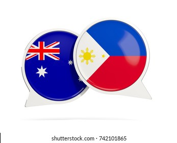 Chat bubbles of Australia and Philippines isolated on white. 3D illustration