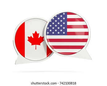 Chat bubbles of Canada and USA isolated on white. 3D illustration