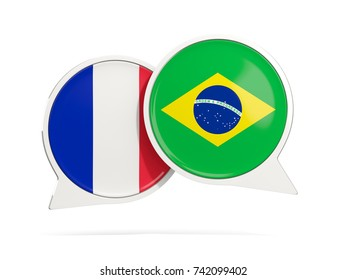 Chat bubbles of France and Brazil isolated on white. 3D illustration