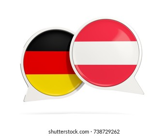 Chat bubbles of Germany and Austria isolated on white. 3D illustration