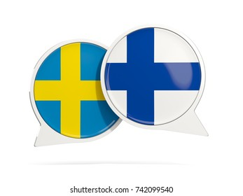 Chat bubbles of Sweden and Finland isolated on white. 3D illustration