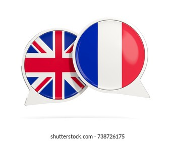 Chat bubbles of UK and France isolated on white. 3D illustration