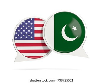 Chat bubbles of USA and Pakistan isolated on white. 3D illustration