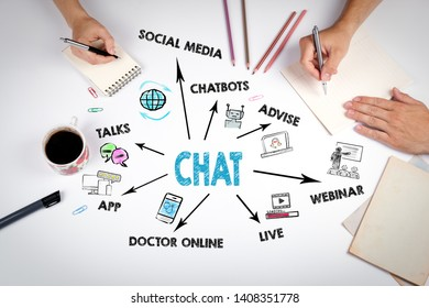 Chat, Communication Digital Web and social network Concept. The meeting at the white office table
