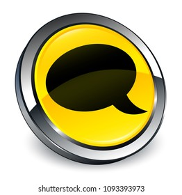 Chat icon isolated on 3d yellow round button abstract illustration