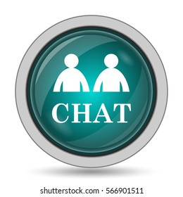 Chat icon, website button on white background.