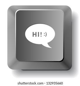 Chat symbol. Raster computer key.