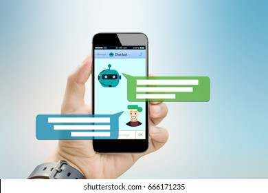 Chatbot concept.Hands holding mobile phone on blurred abstract backgrounds