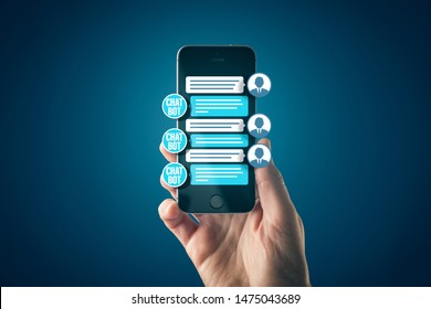 Chatbot smart phone artificial intelligence communication concept. Chatbot is new trend in B2C communication with conversational AI application.