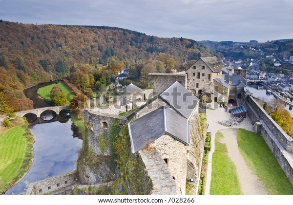 Chateau Boullion, panoramic view from the tower. Belgium.