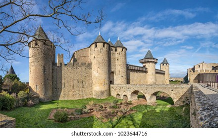 Chateau Comtal - 12th-century hilltop castle in Carcassonne, Aude, France