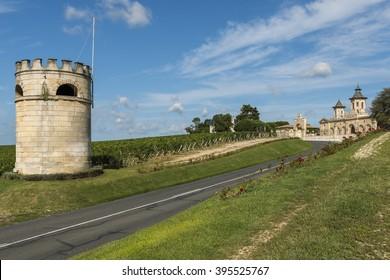 Chateau Cos d'Estournel with vinyards in Saint-Estephe Medoc France.