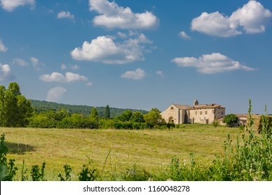 Chateau, country house. Farming and agriculture countryside landscape in France, Provence.