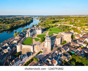 Chateau d'Amboise aerial panoramic view. It is a chateau in Amboise city, Loire valley in France.