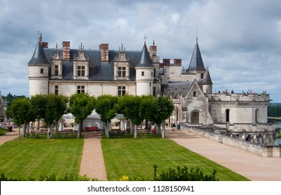 Chateau d'Amboise, one of the famous castles of the Loire Valley, France, seen from its gardens. The Amboise castle was once used as a royal residence