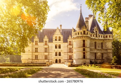 Chateau d'Azay-le-Rideau in the Loire Valley, France. It is one of the earliest French Renaissance castle and famous historical landmark. Sunny scenic view of the old fairytale mansion in summer.
