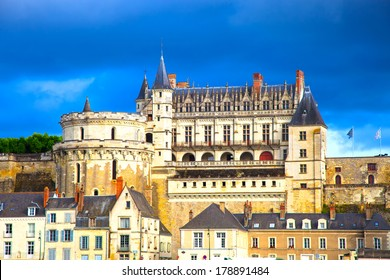 Chateau de Amboise medieval castle, Leonardo Da Vinci tomb. Loire Valley, France, Europe. Unesco site.