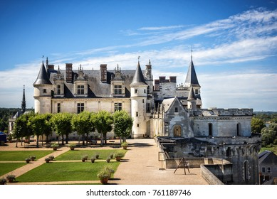Chateau de Amboise medieval castle, Leonardo Da Vinci tomb. Loire Valley, France, Europe. August 22, 2017. Unesco site.