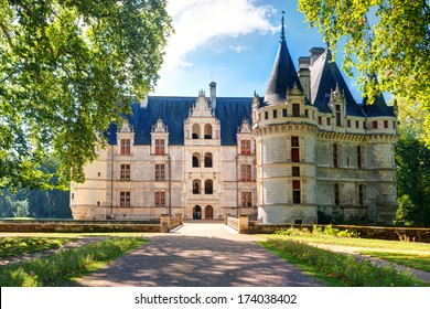 Chateau de Azay-le-Rideau in Loire Valley, France. Castle of Azay-le-Rideau is one of the French Renaissance chateaux and a historical landmark. Scenic view of the old palace or mansion in summer.