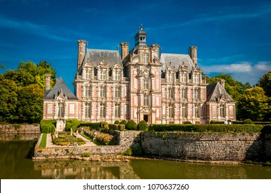 CHATEAU DE BEAUMESNIL / FRANCE - 10.03.2017: This picture of wonderful chateau was made during the last vacation, in France. We were amased by this architectural beauty among the Nature.