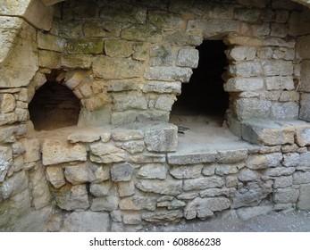 Chateau De Bonaguil, France. Ancient oven within the castle.