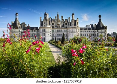 Chateau de Chambord, panoramic view of the Northwest facade of the largest royal Renaissance french castle in Loire Valley, France