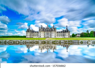 Chateau de Chambord, royal medieval french castle and reflection. Loire Valley, France, Europe. Unesco heritage site. Long exposure.