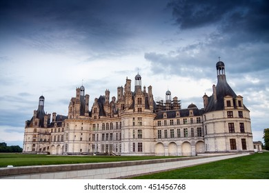 Chateau de Chambord at sunset, royal medieval french castle, Loire Valley, France, Europe. Unesco heritage site, Europe