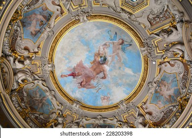 Chateau de Chantilly France October 17: Chateau de Chantilly ceiling painting  on October 17 2014 in Chantilly France