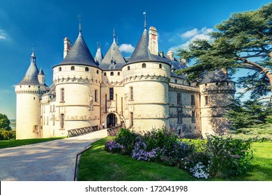 Chateau de Chaumont-sur-Loire in summer, the Loire Valley, France. The castle of Chaumont is one of the main travel destinations in Europe. Loire Valley added to UNESCO World Heritage Site.