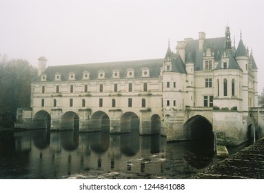 Chateau de Chenonceau, France - Nov 2018 : Cheateau de Cheanonceau during foggy day in November taken by lomography 800 film