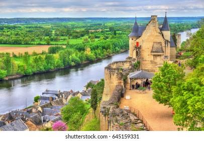 Chateau de Chinon in the Loire Valley, France. UNESCO world heritage site