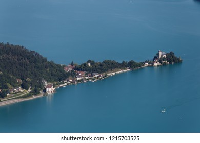 Chateau de Duingt on the turquoise waters of Lake Annecy France