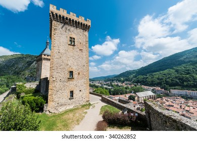 Chateau de Foix castle overlooks this town of Ariege in Midi Pyrenees, France.