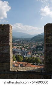 Chateau de Foix castle overlooks this town of Ariege in Midi Pyrenees, France