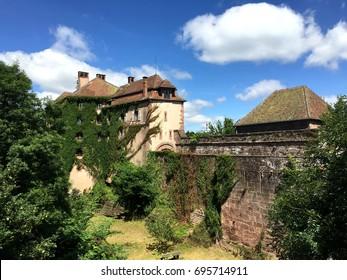 Chateau de La Petite-Pierre (Castle of La Petite Pierre) in a nice summer time, around with Vosges du Nord Natural Regional Park