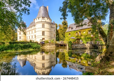 Chateau de l'Islette in the Loire Valley, France. Beautiful scenic view of the old castle in summer. It is one of the historical French landmarks. Idyllic panorama of a country place in France.