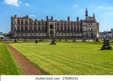Chateau de Saint-Germain-en-Laye, around 13 miles west of Paris. Work at Chateau was begun in 1124 by Louis VI as a fortified hunting-lodge. It now - National Museum of Archaeology. France.