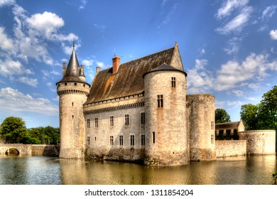 Chateau de Sully-sur-Loire, France. Medieval castle in the Loire Valley is a famous travel destination in Europe.