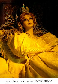 """Chateau d'Usse, France - April 25, 2018: Princess Aurora awoke from her sleep. Wax figure from the fairy tale """"Sleeping beauty"""" in the Chateau d'Usse."""