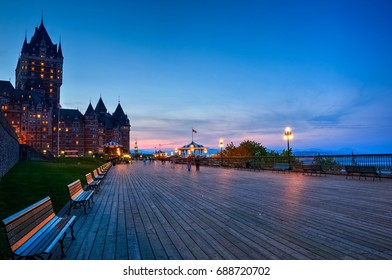 Chateau Frontenac and Dufferin terrace at dusk, Quebec city, Quebec, Canada
