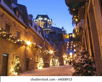 Chateau Frontenac at dusk in winter