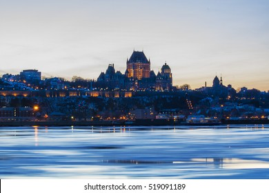 Chateau Frontenac in Quebec, Canada by Night. View from Levis in winter night